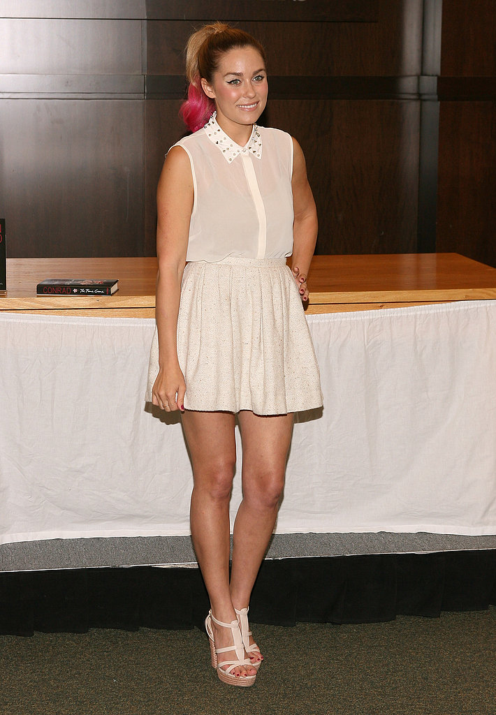 Lauren rocked a crisp white-on-white ensemble (and a hot-pink ponytail) for a book signing in 2012. Lesson from Lauren: white on white is crisp, clean, and chic.