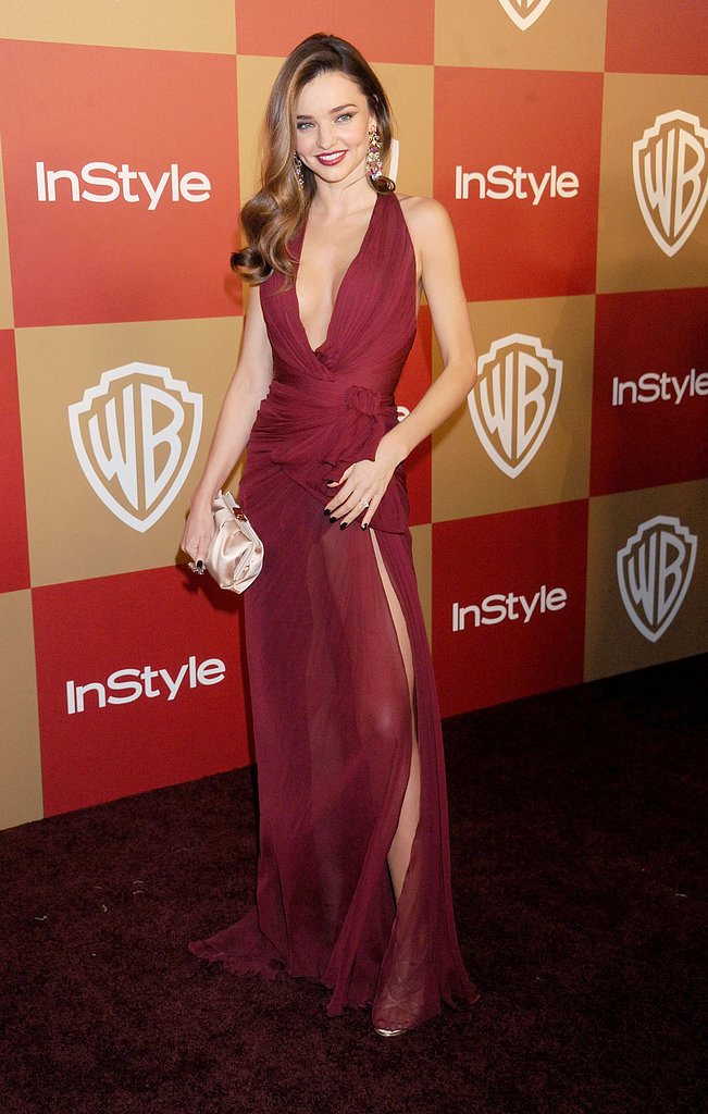 """On which celebrity he'd most like to see toting one of the new clutches: """"Miranda Kerr is stunningly beautiful. I think our handbag collection is well suited to her personal style."""" Pictured here, Miranda stunned at the InStyle Golden Globes afterparty in a berry-hued Zuhair Murad number. We hope the next time we see her going all out on the evening glamour, she's toting one of Jerome's creations."""