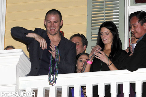 Channing Tatum and Ashley Greene had fun with Mardi Gras beads on the balcony of his New Orleans bar, Sinners & Saints.