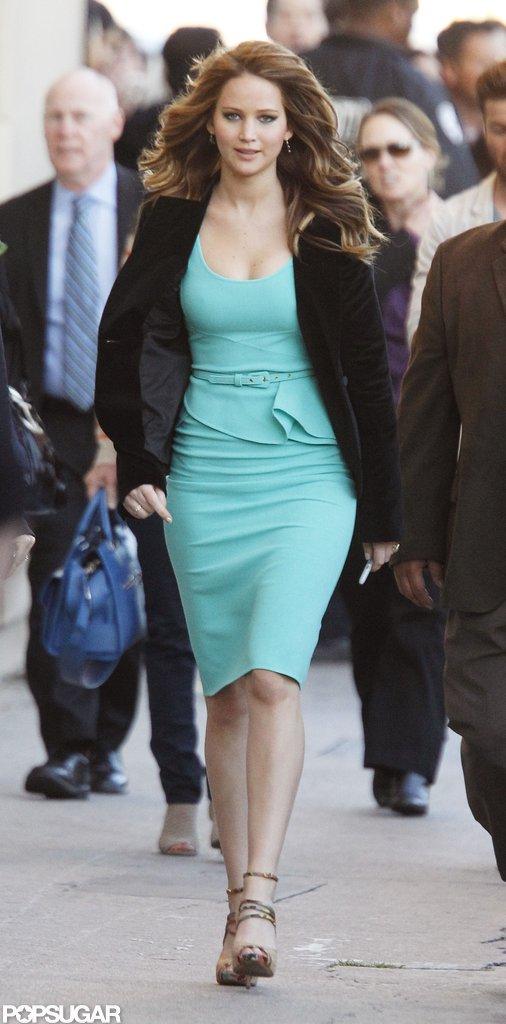 Jennifer Lawrence was also seen wearing a teal dress.