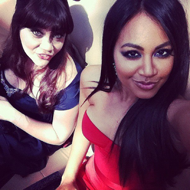 Jessica Mauboy and Shari Sebbens puckered up ahead of the AACTA Awards on Wednesday. Source: Instagram user jessicamauboy1