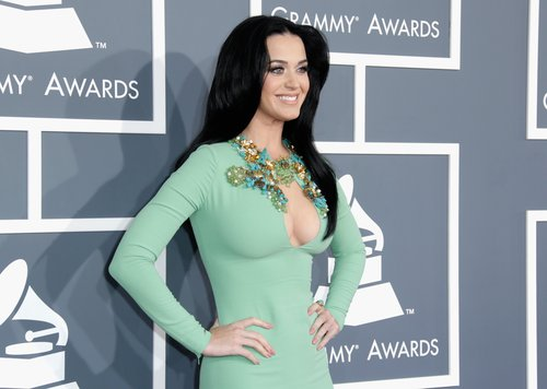 Katy Perry chose a mint green dress by Gucci for the 2013 Grammys.