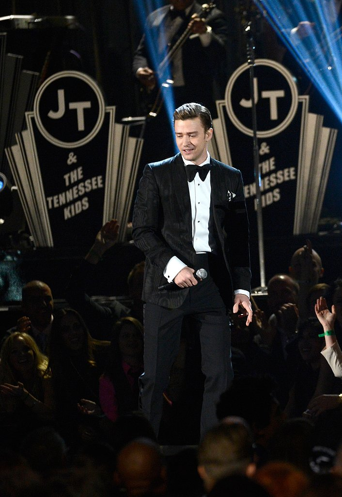 Justin Timberlake stepped in front of the crowd during his honorary performance at the 2013 Grammys.