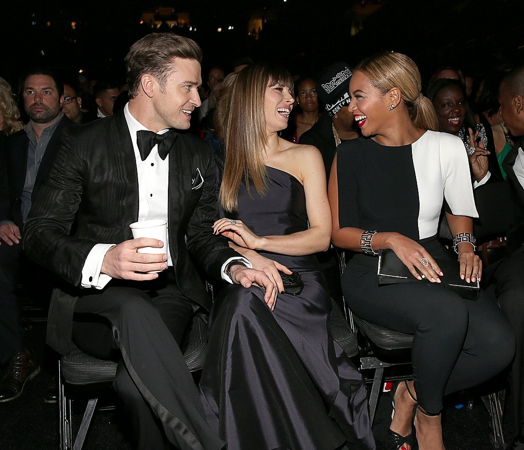 Justin Timberlake and Jessica Biel laughed in their seats with Beyoncé.