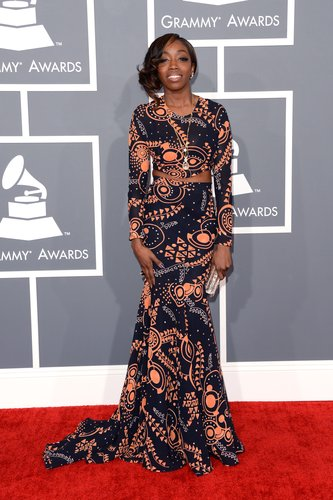 Estelle opted for a graphic Grammys gown.