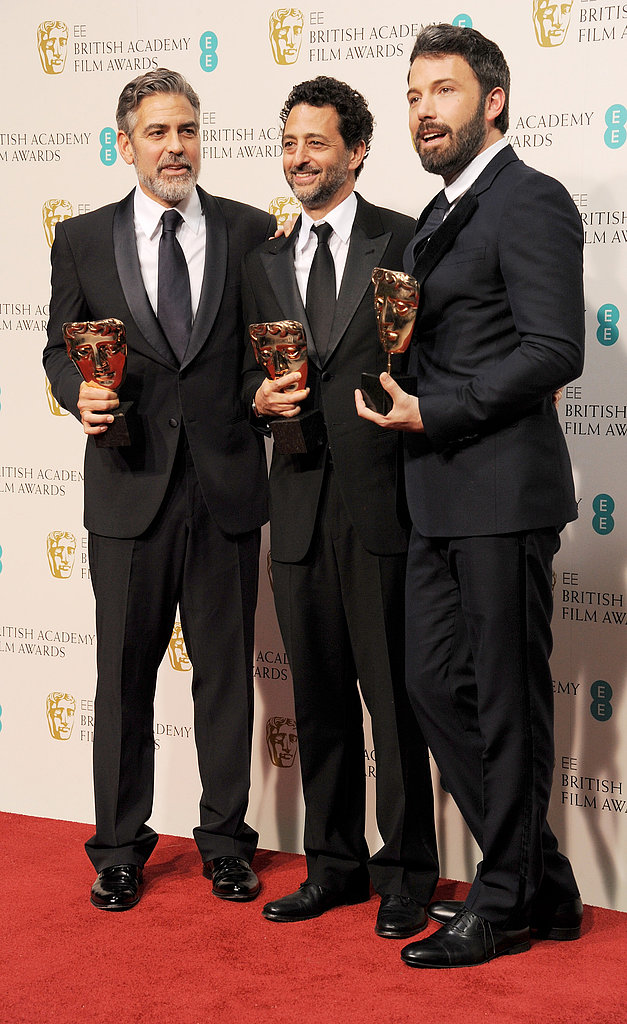 Ben Affleck and George Clooney celebrated their BAFTA win with Grant Heslov.