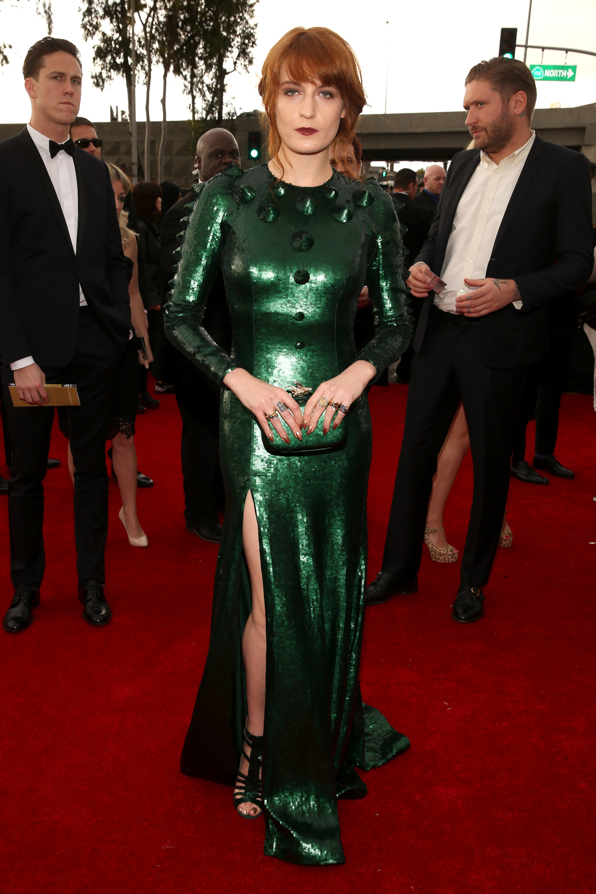 Florence Welch wore a green Givenchy gown for the 2013 Grammys.
