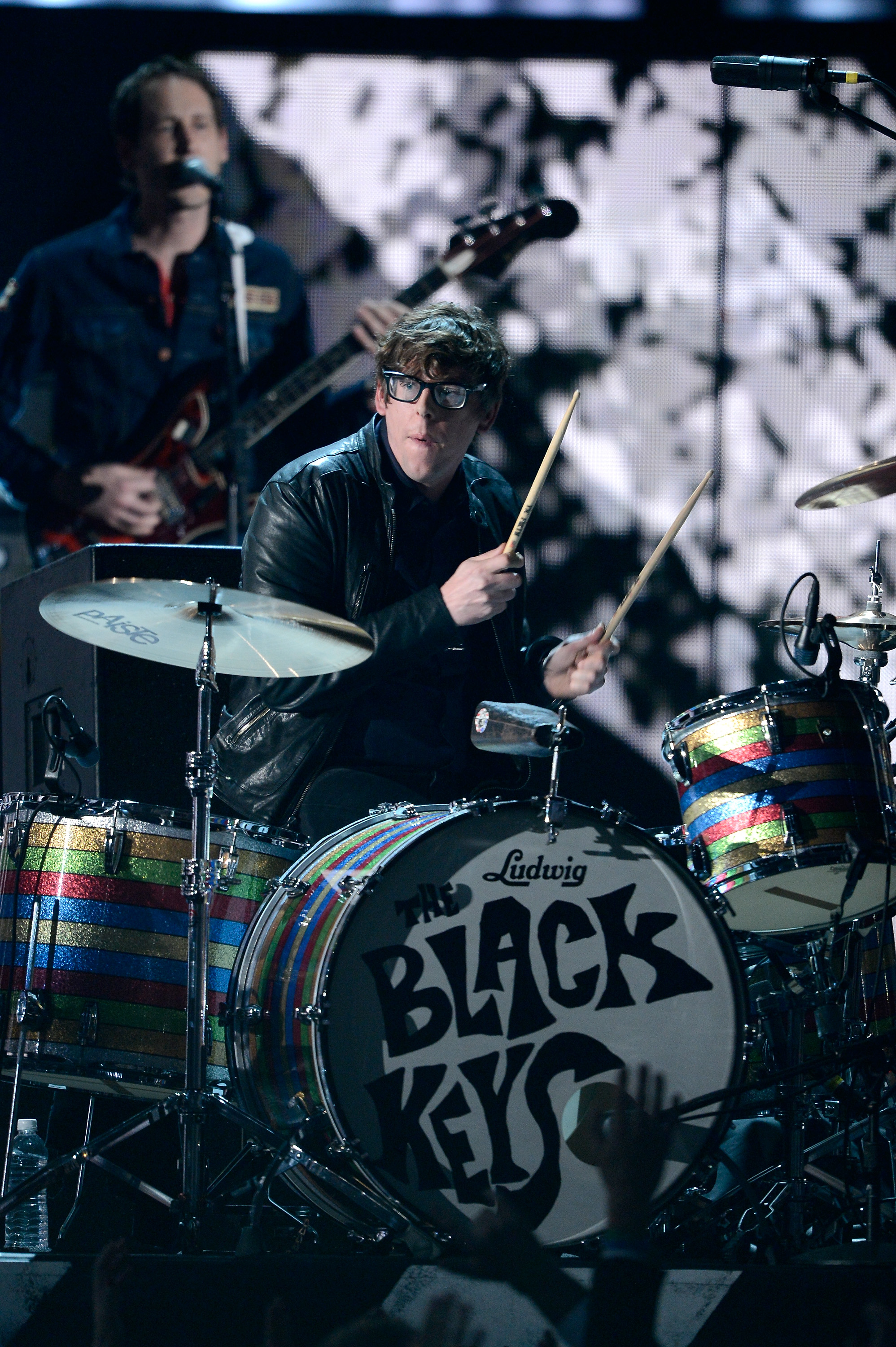 Patrick Carney from the The Black Keys beat the drums on stage.