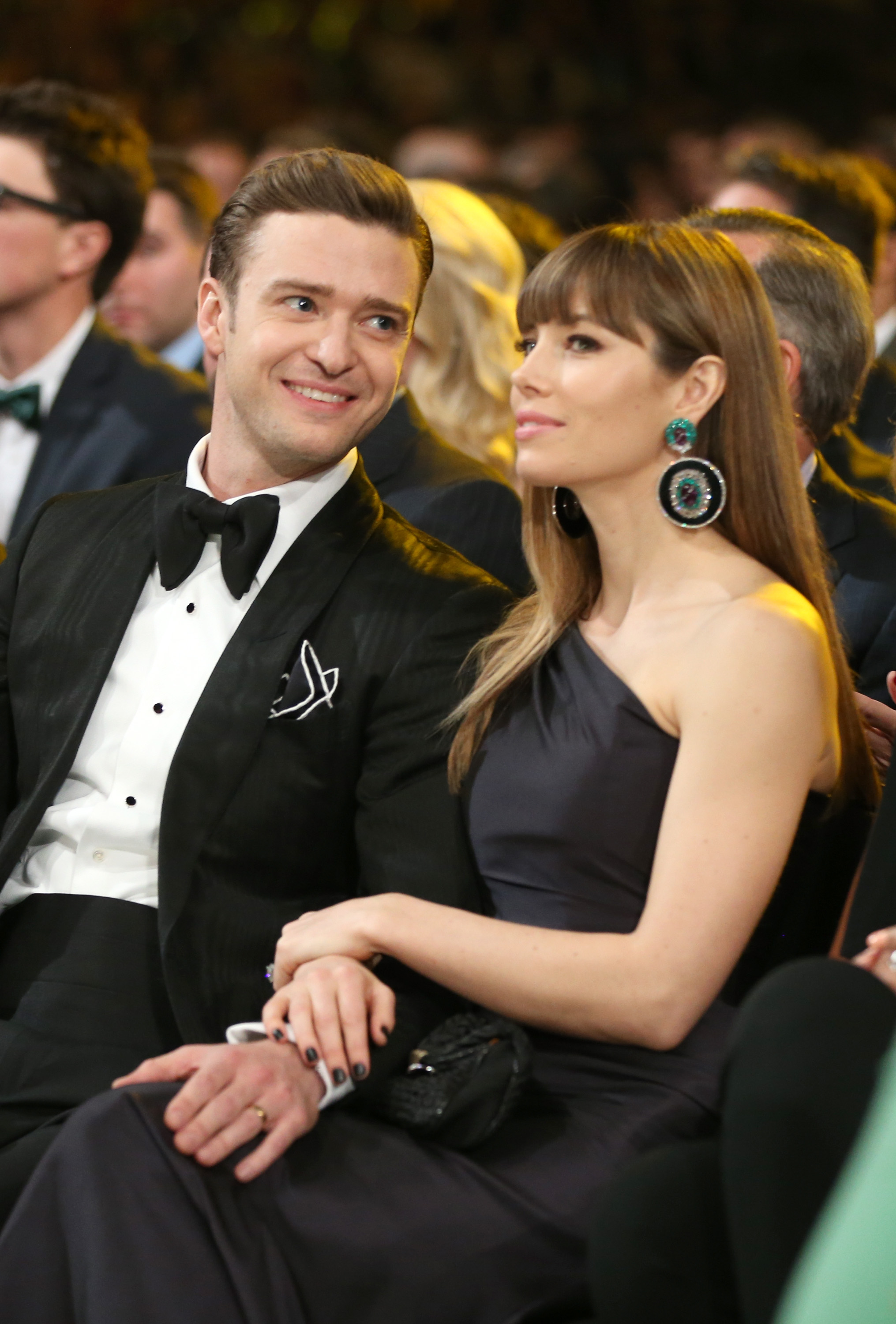 Justin Timberlake gave wife Jessica Biel a loving glance during the 2013 Grammys in LA.