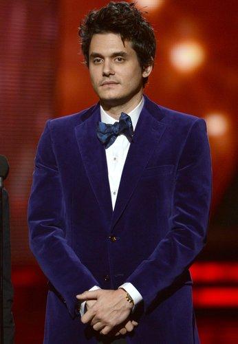 John Mayer wore a blue blazer.
