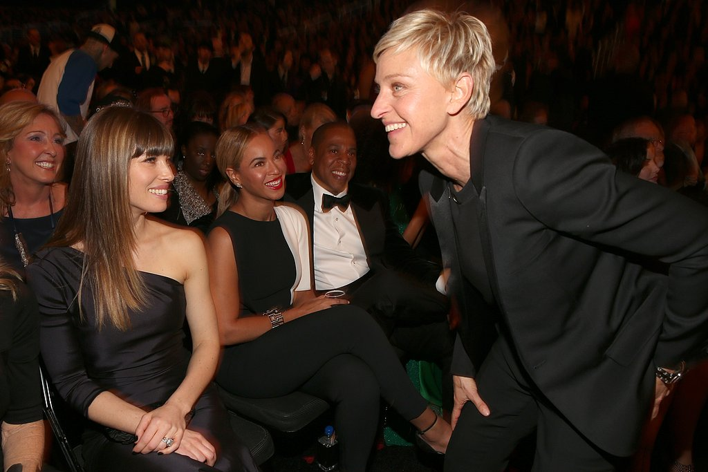 Ellen DeGeneres worked the crowd, which included Jessica Biel, Beyoncé and Jay-Z, during the 2013 Grammy Awards.