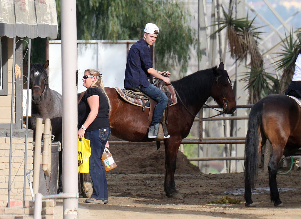 Justin Bieber rode a horse in Hollywood on Friday.