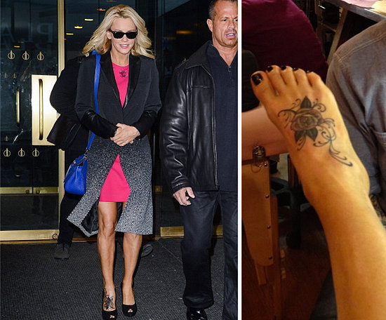 Jenny McCarthy tweeted her new foot tattoo of a rose.