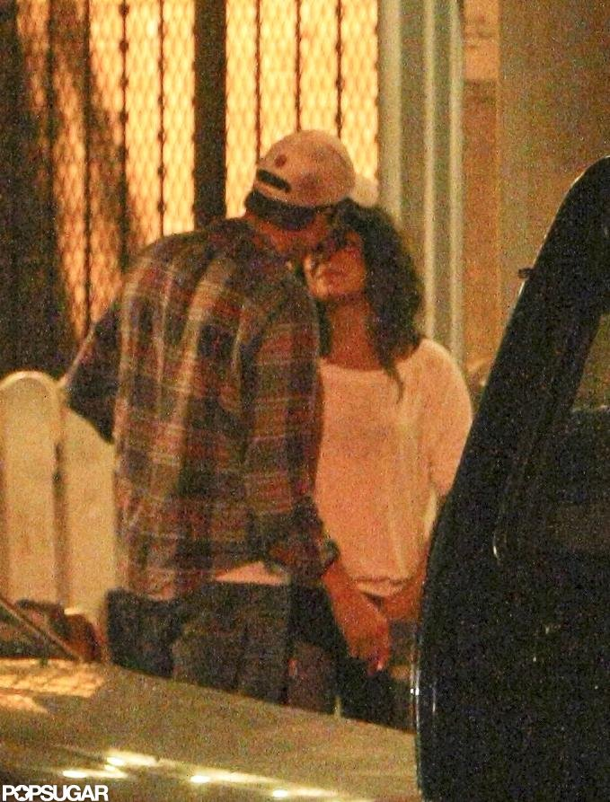 The couple snuck a kiss after dinner in NYC in September 2012.