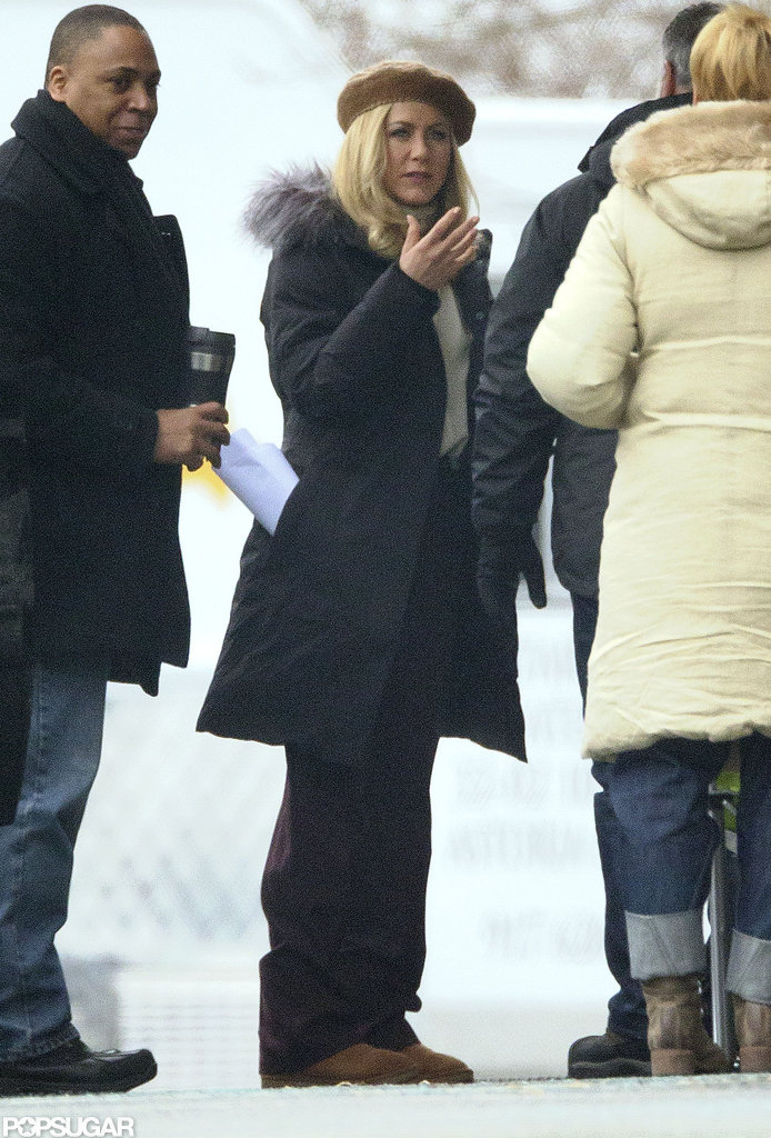 Jennifer Aniston sported a blond wig on the the set of her untitled Elmore Leonard project in Greenwich, CT.