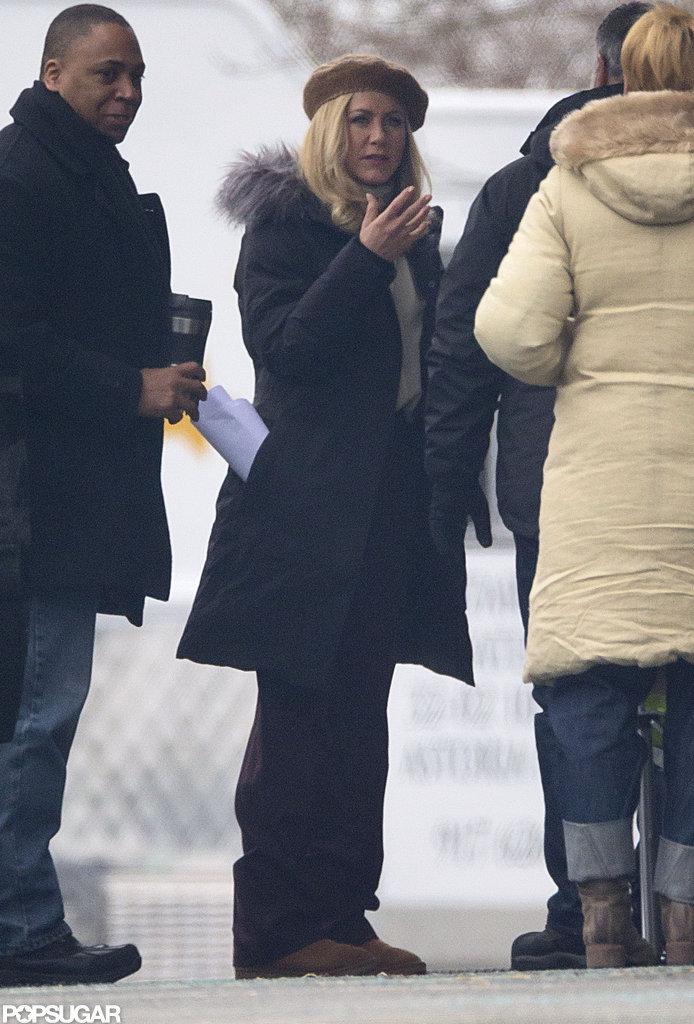 Jennifer Aniston sported blonde hair on set.