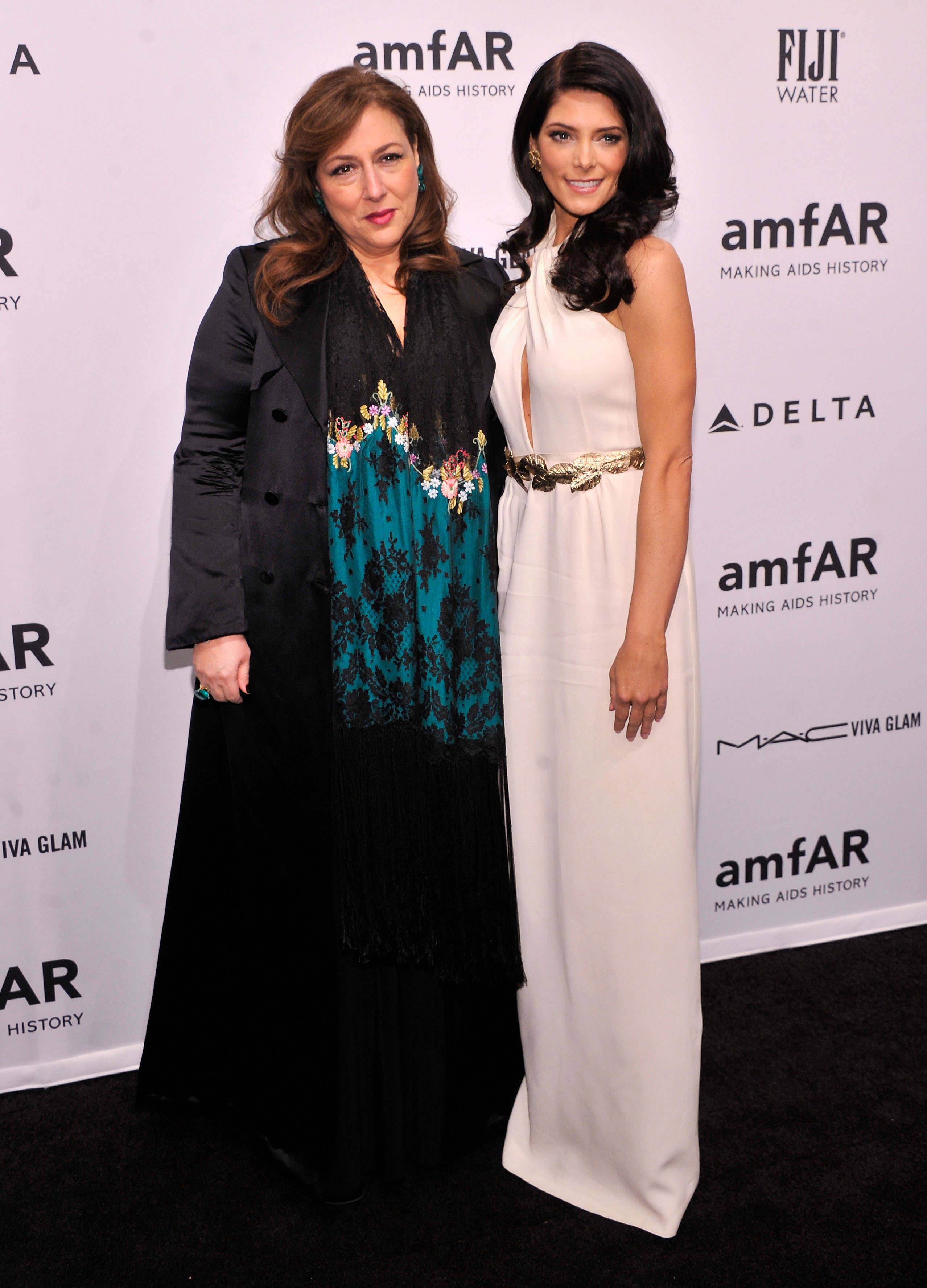 Lorraine Schwartz and Ashley Greene smiled for photos at Wednesday's amfAR Gala in NYC.