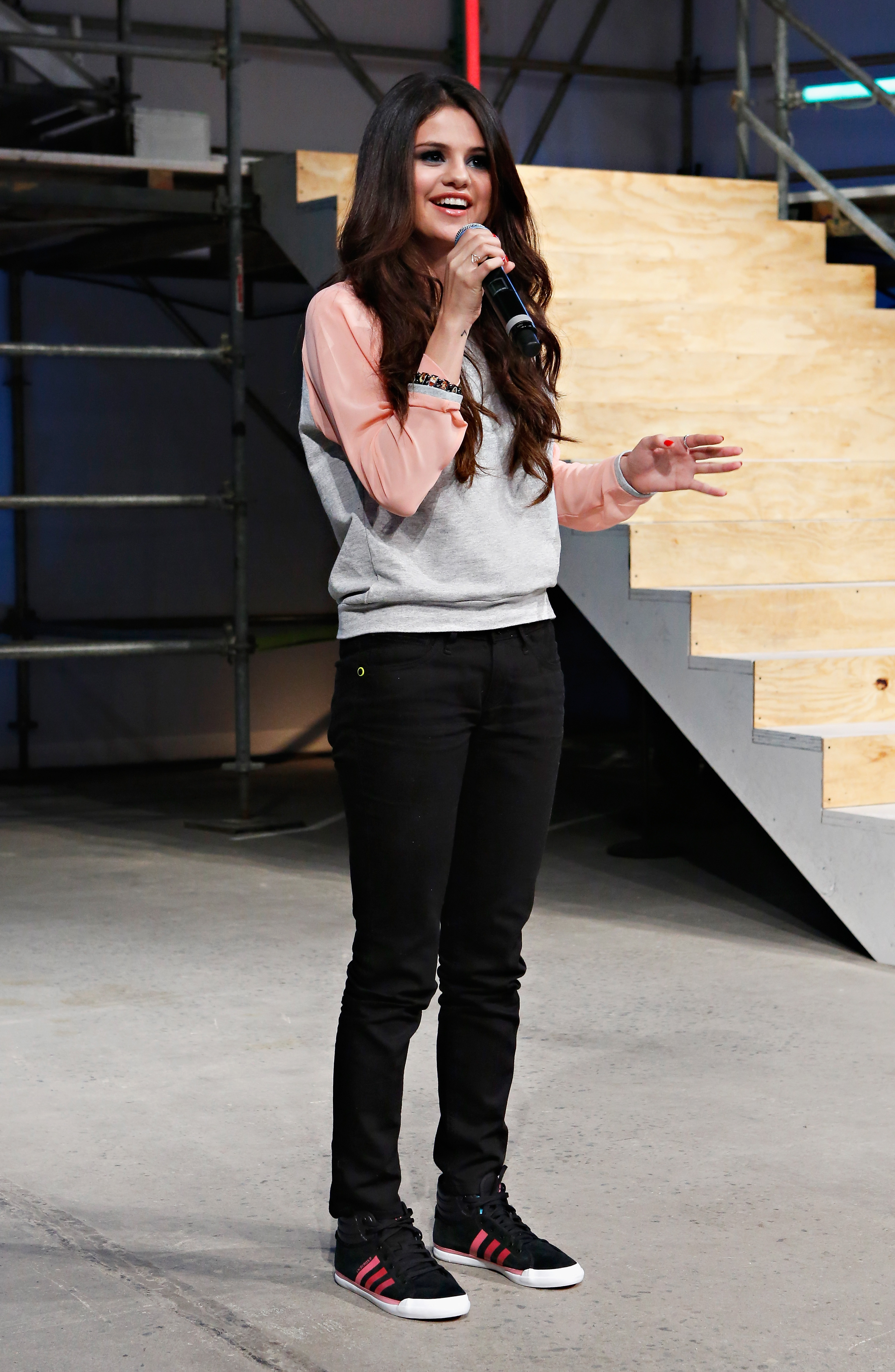 Selena Gomez spoke to the audience at the end of the Adidas NEO fashion show on Wednesday.