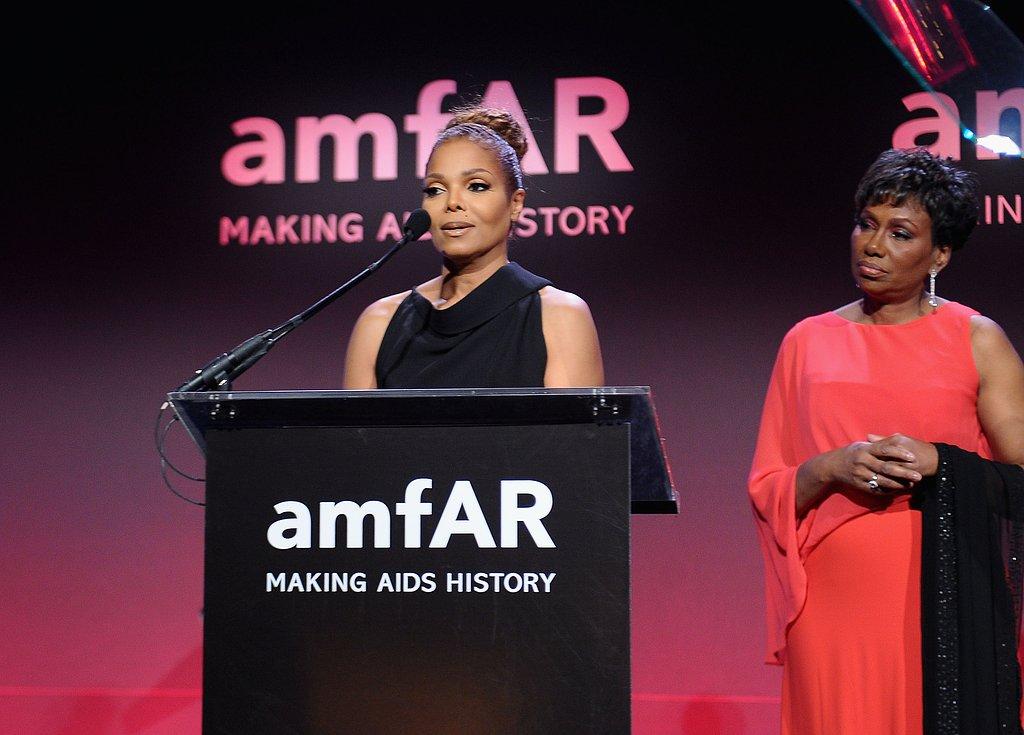 Janet Jackson presented an award at the amfAR New York Gala in February for Fashion Week.