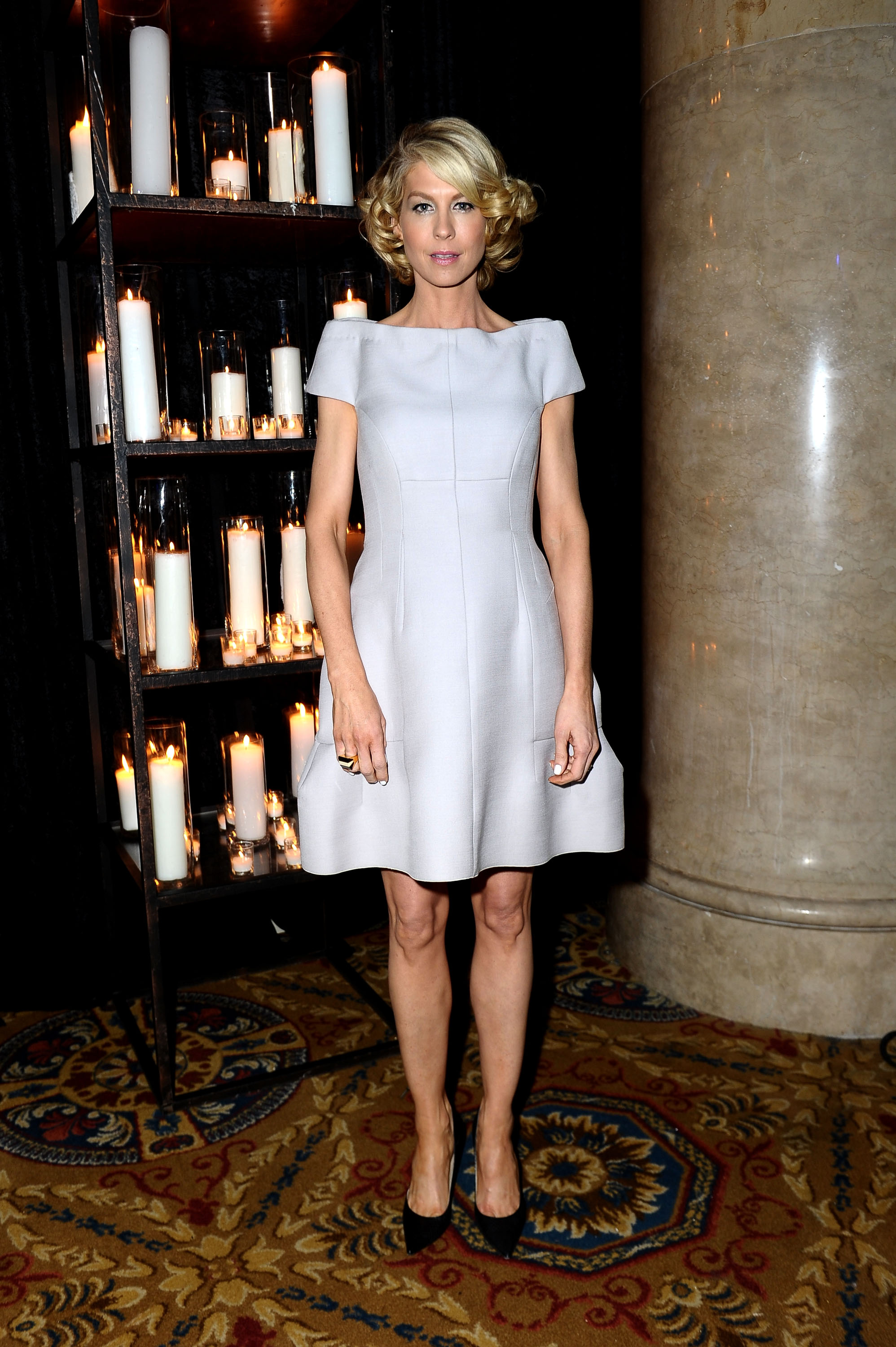 Jenna Elfman went for a cocktail dress when she attended Wednesday night's amfAR New York Gala.