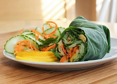 Thai Chickpea Collard Wraps with Peanut Sauce