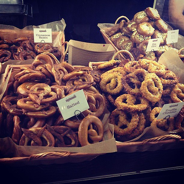 Backstage at Rag + Bone, folks were treated to a pop-up pretzel stand.