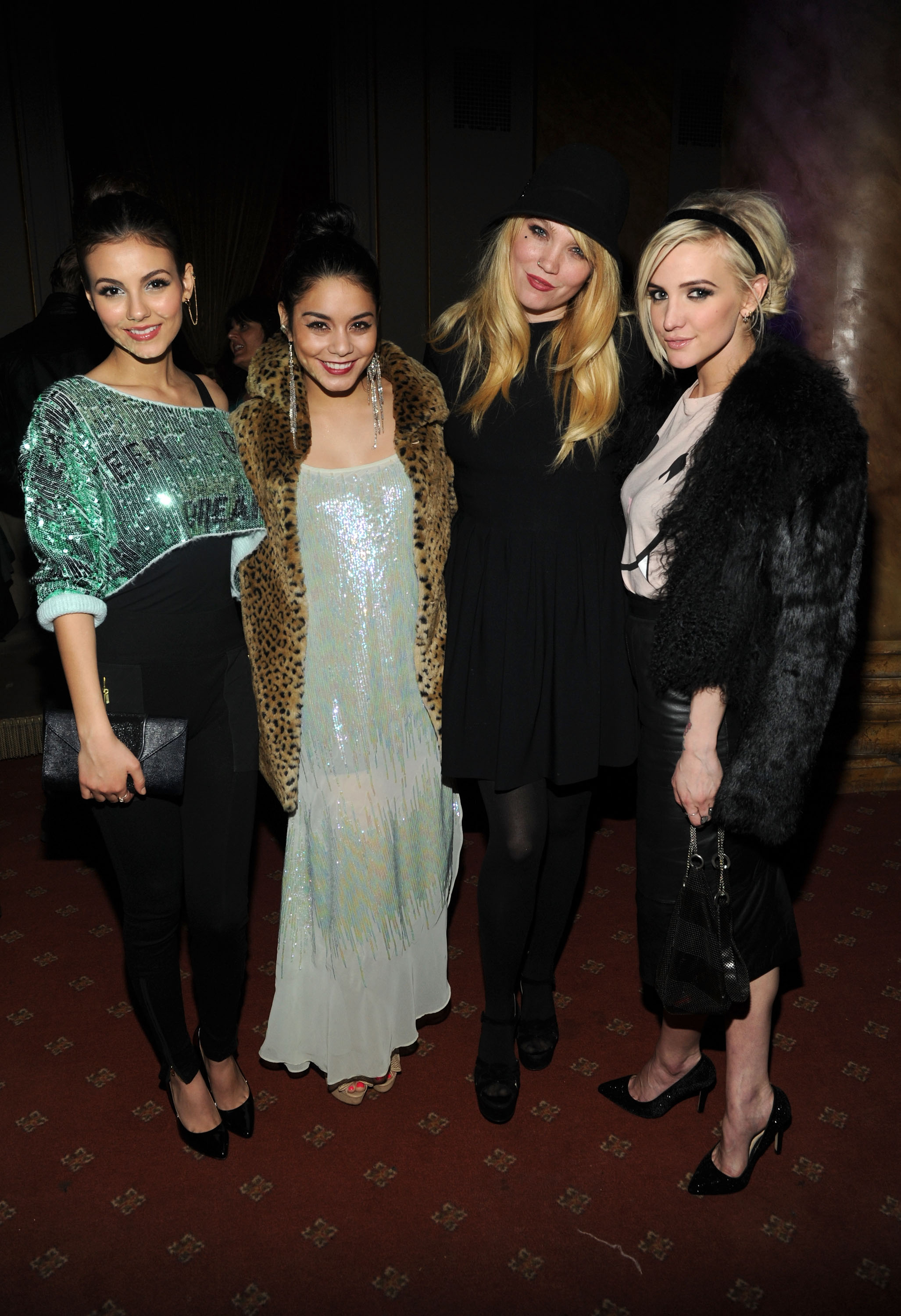 Victoria Justice, Vanessa Hudgens, and Ashlee Simpson posed with designer Kim Gordon at the Wildfox Fall presentation on Wednesday.