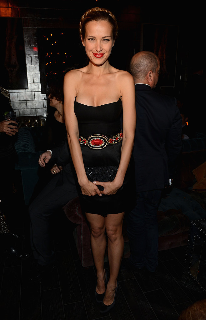 For Petra Nemcova, it was all about the accessories. The blond beauty worked a strapless black dress with a beaded statement belt and milkmaid braids at the La Perla afterparty.