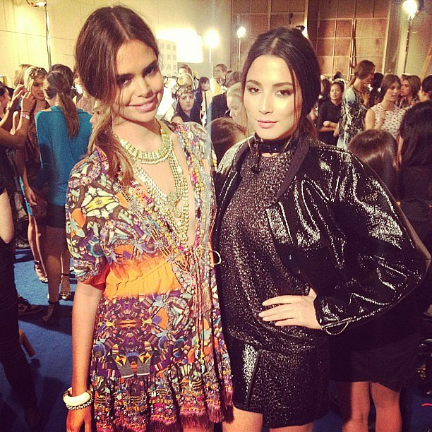 Aussie stunners Sam Harris and Jessica Gomes met up ahead of their show at the David Jones A/W 2013 Fashion Launch. Source: Instagram user iamjessicagomes