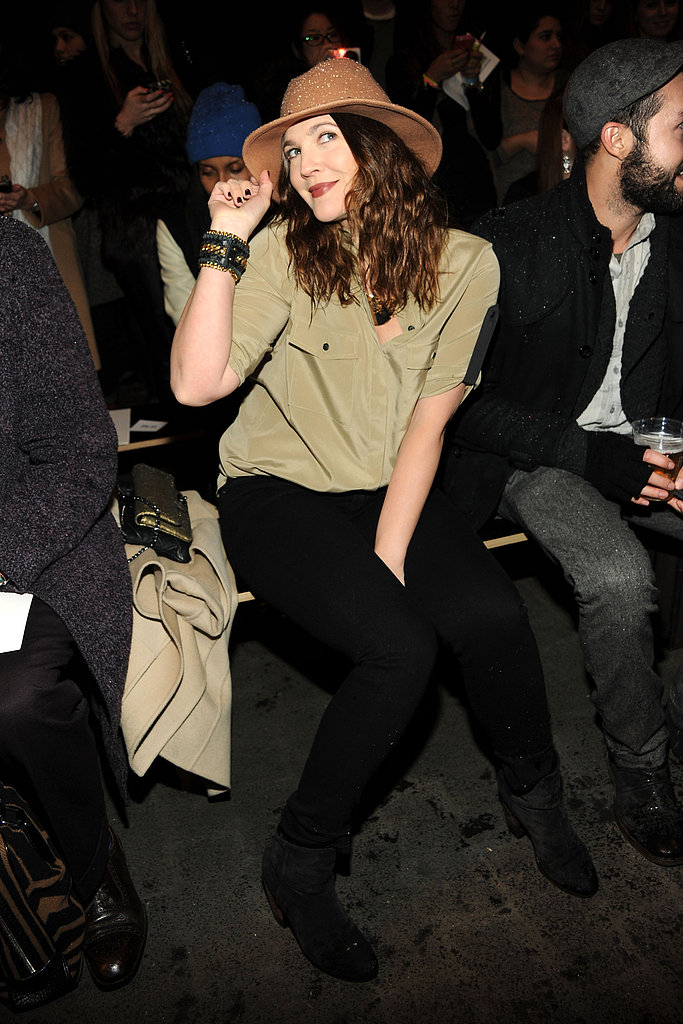 Drew Barrymore braved the blizzard to sit front row at Rag & Bone in NYC in February.
