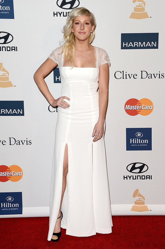 Singer Ellie Goulding showed off her angelic side in a white lace gown with double slits.
