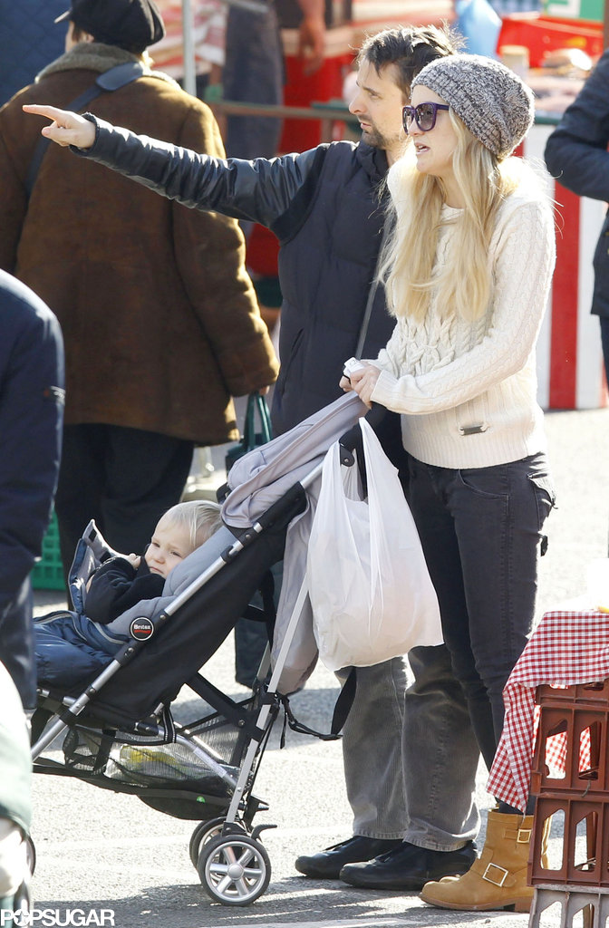 Kate Hudson pushed her son Bingham in his stroller on a trip to a London farmers market with Matthew Bellamy.