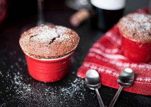 Dark Chocolate Souffle With Grand Marnier Crème Anglaise