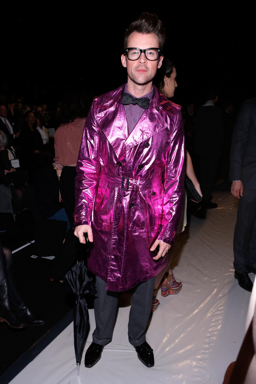 Brad Goreski wore a pink metallic coat on Sunday at the Carolina Herrera fashion show.