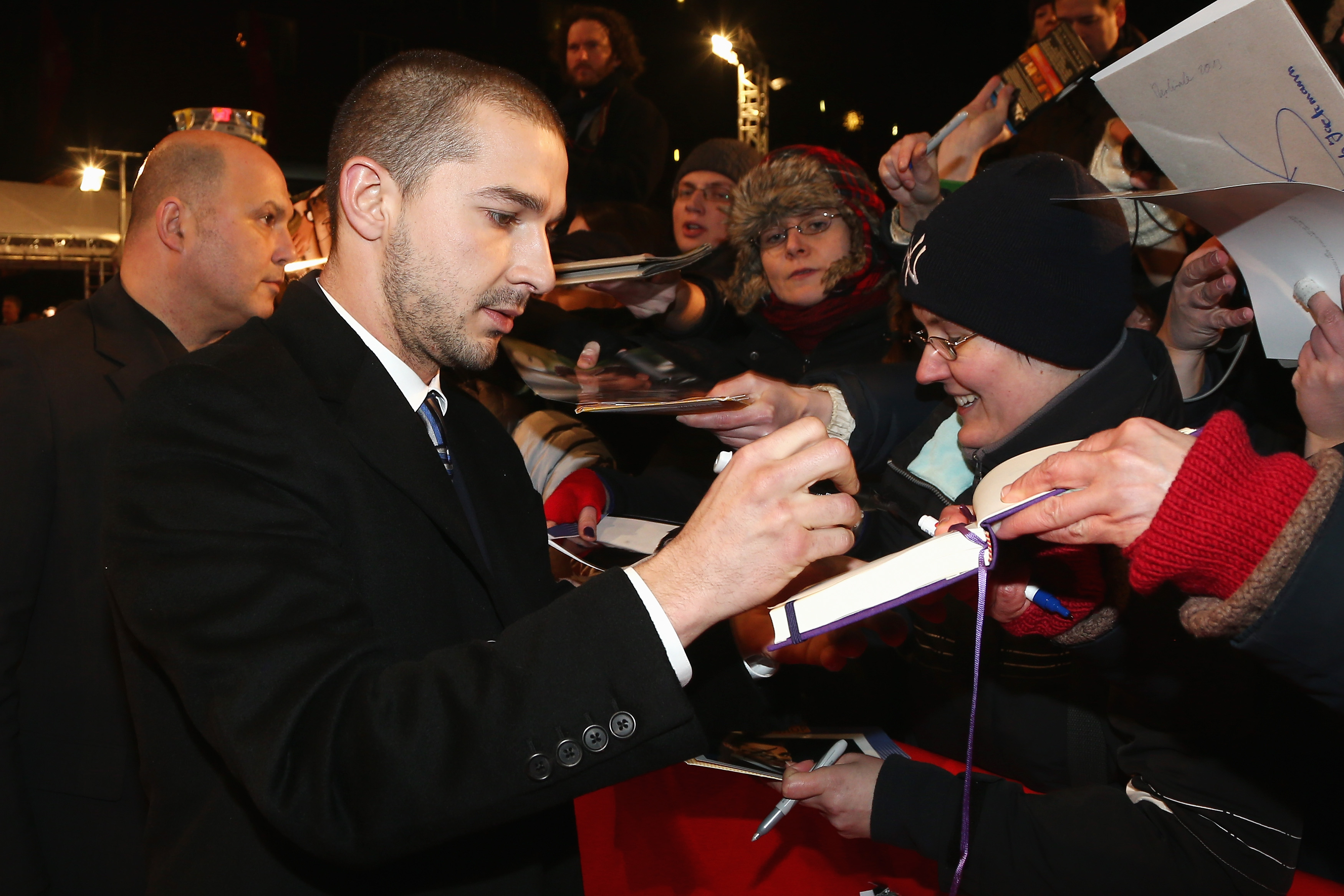 Shia LaBeouf signed autographs on Saturday at the premiere of The Necessary Death of Charlie Countryman.