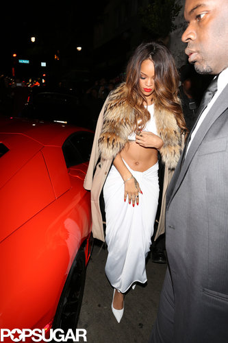 Rihanna arrived at a Grammys afterparty wearing a white outfit.