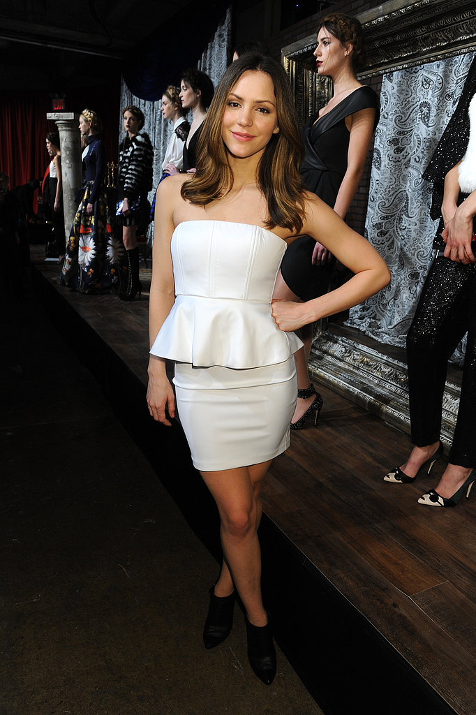 Katharine McPhee looked fresh in a white strapless peplum Alice + Olivia dress and black booties at the designer's presentation at New York Fashion Week.
