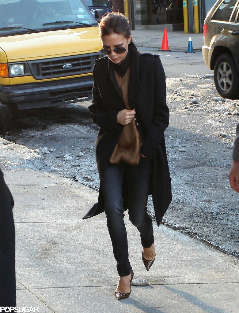 Victoria Beckham arrived to show her Victoria Victoria Beckham Collection.