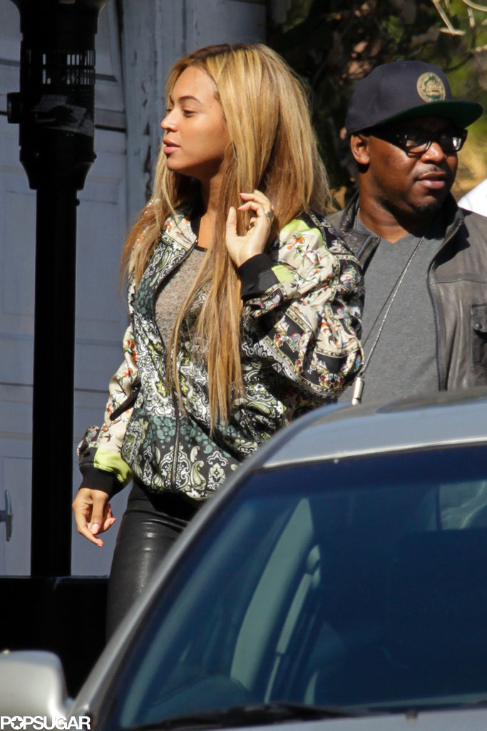 Beyonce Knowles paired her printed jacket with black pants.