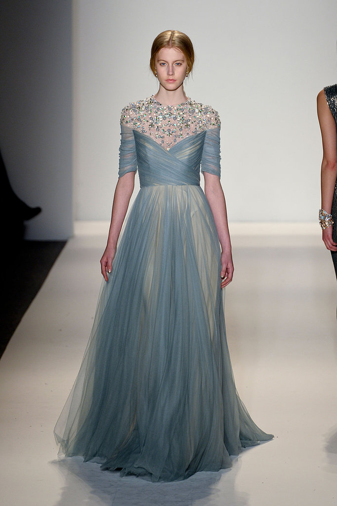 How gorgeous is this pale blue Jenny Packham gown? The floaty skirt and jewel-encrusted neckline would look fantastic on best supporting actress nominee Anne Hathaway.