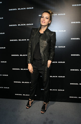 Petra Nemcová brought street chic to new heights with a quilted leather jacket and cutout leather sandals at Diesel Black Gold.