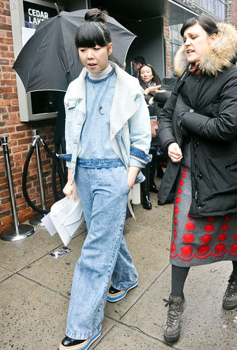 Susie Bubble showed off a faded denim jumpsuit and coordinating creepers.