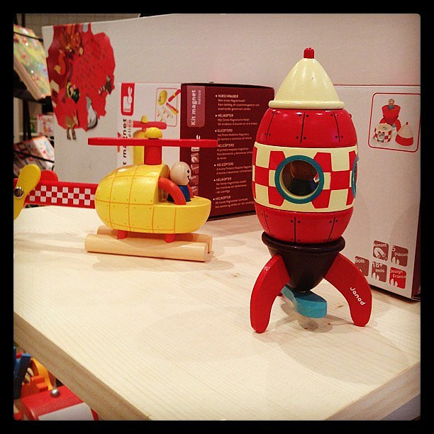 Janod debuted their magnetic stackable rocket ship and helicopter at the show.