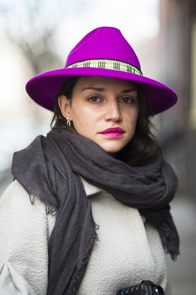 Your bolds can go both ways. Just ask Vlasta Guryeva, who coupled her magenta chapeau with a similar lip color. Source: Le 21ème | Adam Katz Sinding