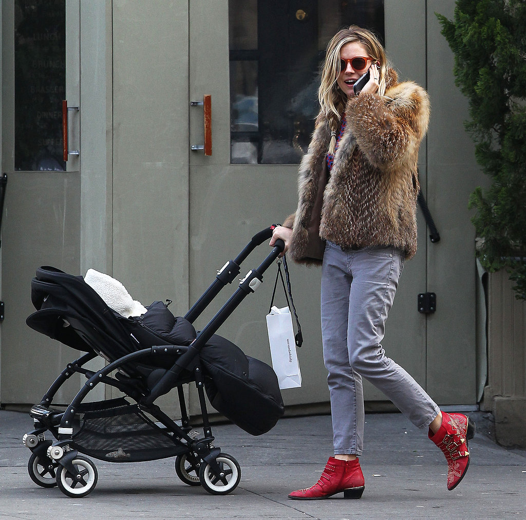 Sienna Miller Walks and Talks With Baby Marlowe