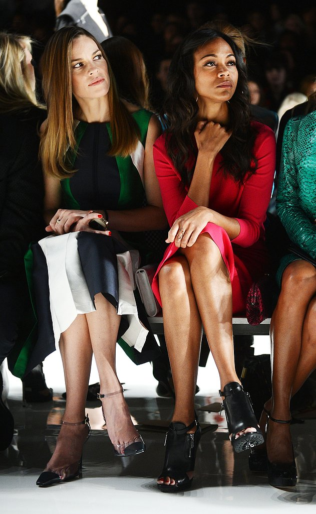 Hilary Swank took in the Michael Kors show in a front-row seat next to Zoe Saldana in NYC in February.
