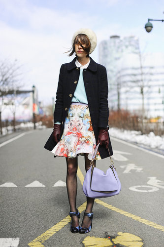 We adore this sweet mix of girlie silhouette, standout print, and high-shine heels.