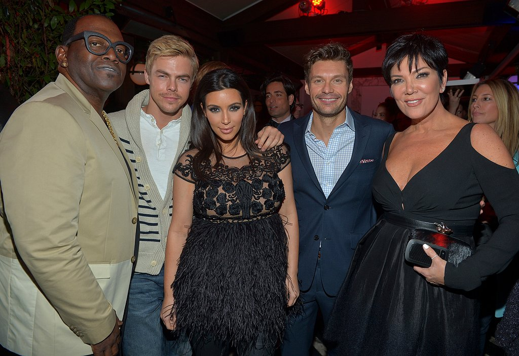Kim Kardashian posed with Randy Jackson, Derek Hough, Ryan Seacrest, and Kris Jenner.