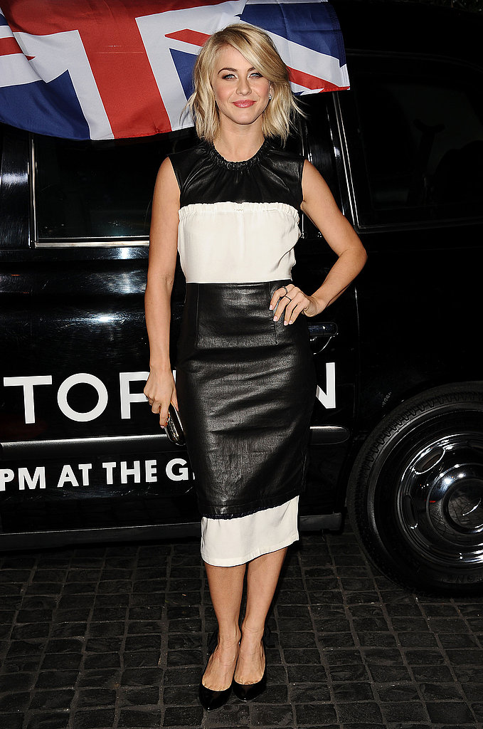 Julianne Hough opted for a black-and-white colorblocked look.