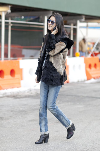 With fur layers, denim went from basic to show-worthy.